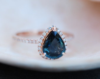 reserved -Rose Gold Engagement Ring Peacock Blue Green Sapphire 1.15ct  pear cut halo engagement ring 14k rose gold.