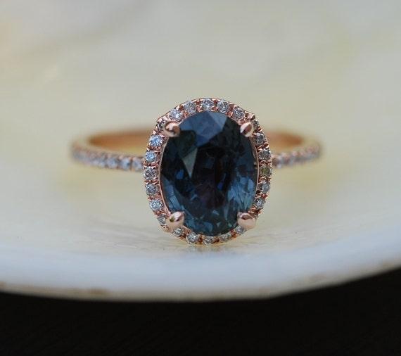 green blue sapphire engagement ring peacock by eidelprecious