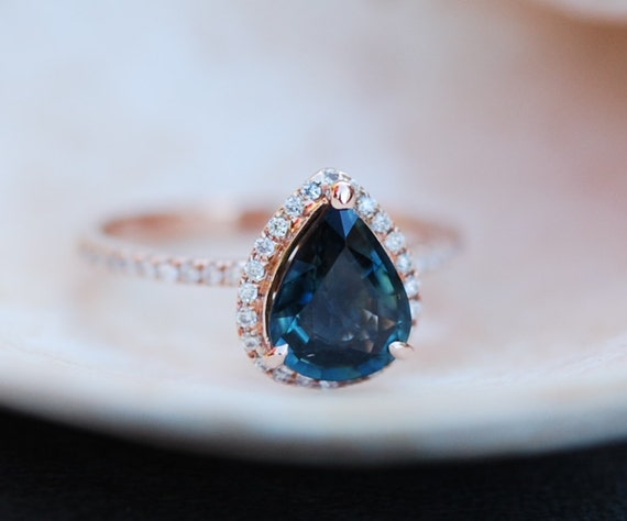 Rose Gold Engagement Ring Peacock Blue Green Sapphire 1 81ct