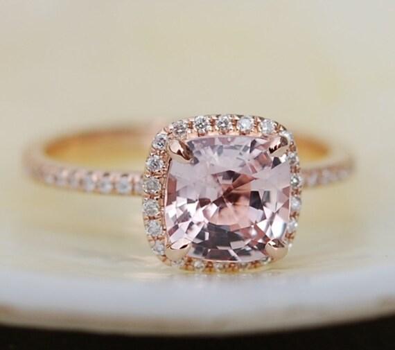 Ice Peach Sapphire Ring 14k Rose Gold Diamond Engagement Ring 1.55ct Square Cushion Ice Peach sapphire