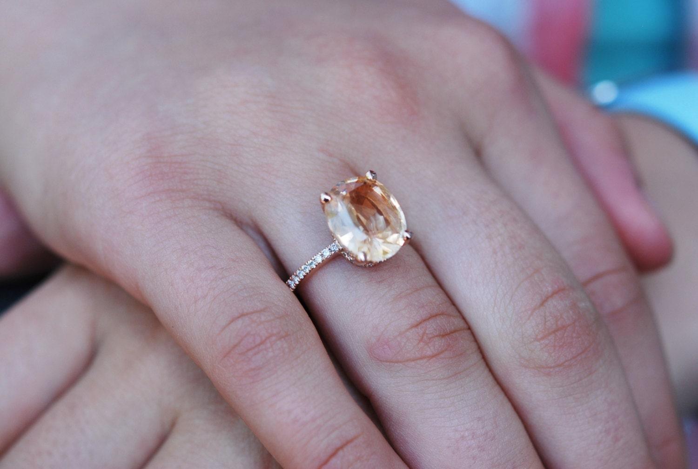 Apricot Sapphire Engagement Ring Oval cut sapphire 18k rose gold diamond ri