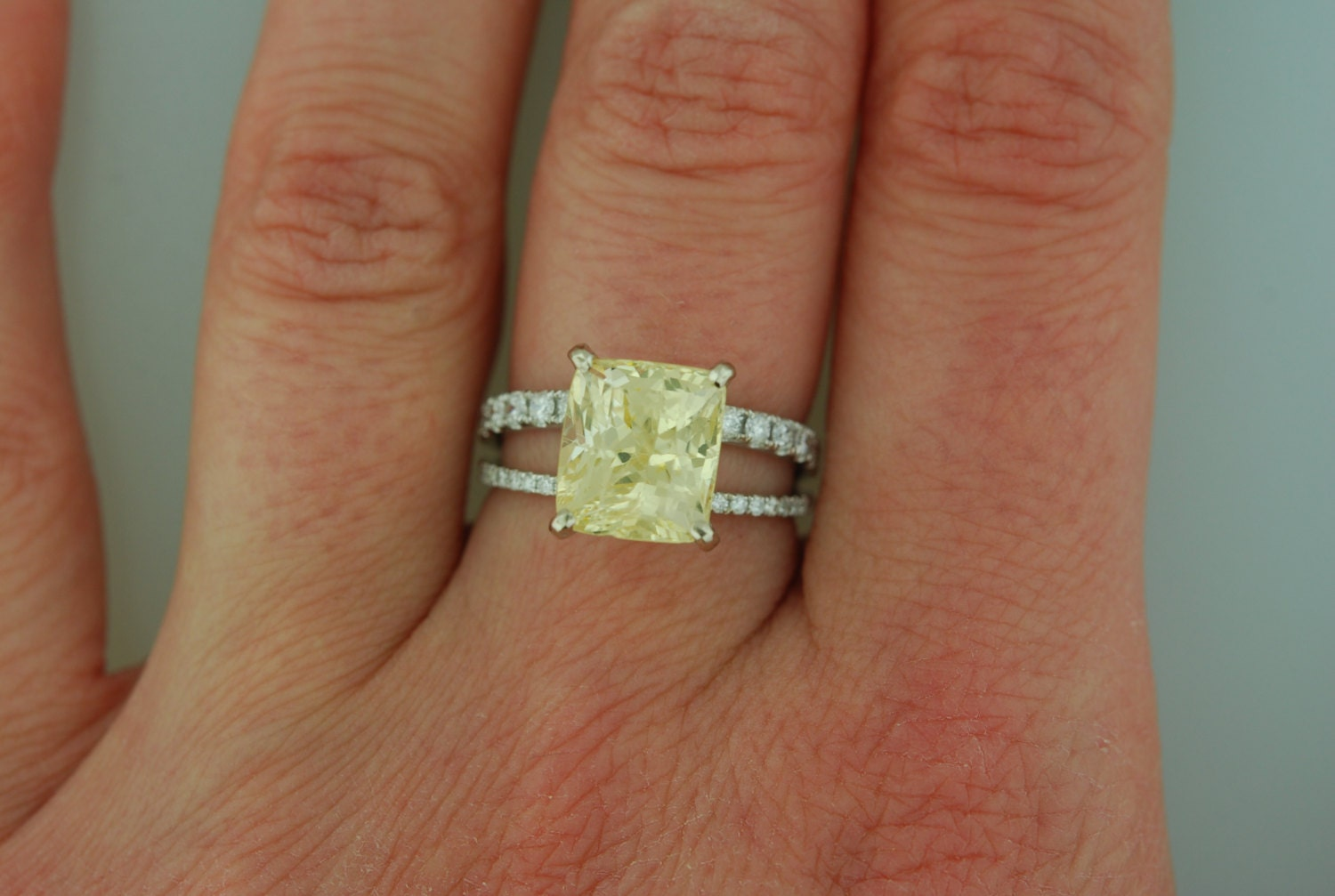 Yellow sapphire engagement ring 18k white gold diamond ring GIA certified 5