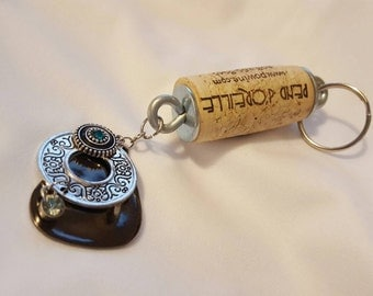 Filigree Silver and Blue Wine cork Keychain