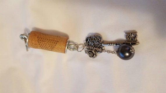 Abracadabra Wine cork and Key keychain