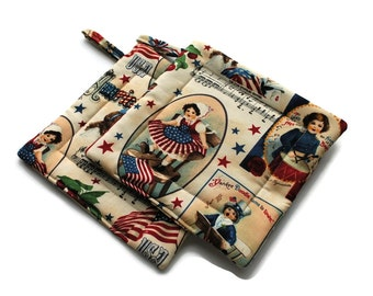 Handmade Quilted Pot Holders Set of 2  Americana Red White Blue Cream Star Spangled Banner