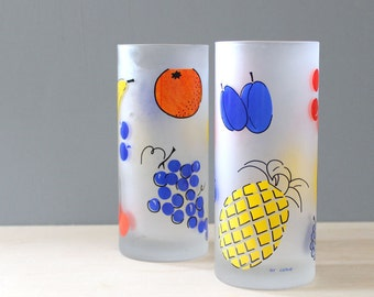 Tutti Frutti. Pair of 1980s Italian design Cerve drinking glasses.