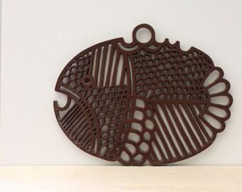 Lars. Dansk Gourmet brown fish trivet, 1970s.