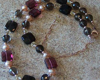 Genuine Smoky Quartz, Citrine, Red Fluorite, Champagne FW Pearl, 14kt Rose Gold Filled Necklace, Cavalier Creations