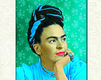 Frida Kahlo Art Instant Digital Download Poster Print Digital Painting Mixed Media Collage Aqua Blue Green Wallpaper White Flowers All Sizes