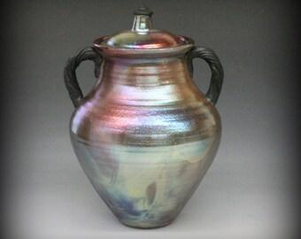 Raku Urn or Lidded Vase in Metallic and Iridescent Colors