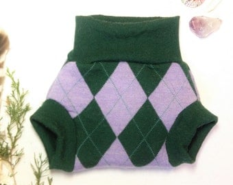 Small Argyle Hunter and Lavender Upcycled Wool Soaker Diaper Cover / Wool Shorties Complete Double Layer Triple Wetzone