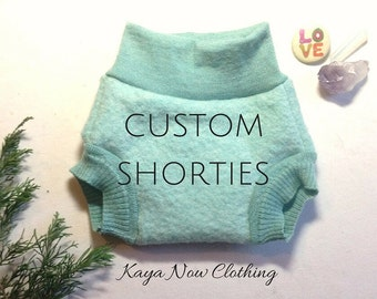 Custom Wool Shorties/ Cloth Diaper Cover Soaker / Cashmere / Upcycled