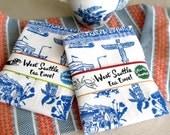 West Seattle Retro Toile Neighborhood Tea Towel White Flour Sack 100% Cotton