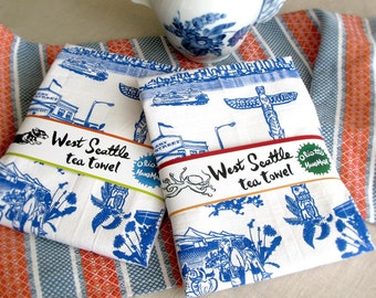 West Seattle Retro Toile Neighborhood Tea Towel White Flour Sack 100% Cotton