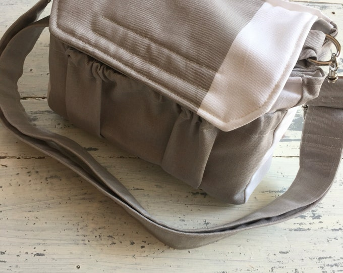 New! Color blocked Taupe White MEDIUM size Digital Padded Camera Bag with removable divider by Watermelon Wishes