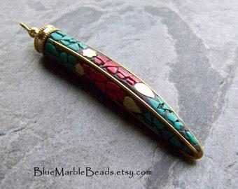 Reserved for Diana, Horn Pendant, Gemstone Pendant, Tribal Pendant, Boho Pendant, Tribal Bead, Boho Bead, Brass Pendant, 1 Pendant
