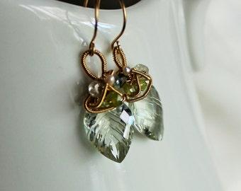 Carved Green Amethyst leaf earrings