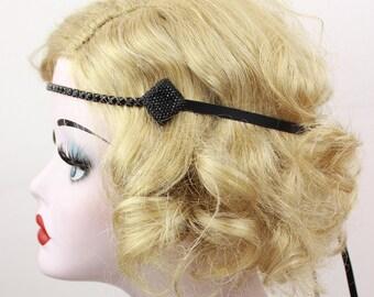 Black Headband, Crystal Hair Accessory, Festival Wear, Women's Hair Accessory, Real Crystal Chain