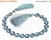55% Sale 8 Inches Super Finest AAA London Blue Quartz Faceted Coin Briolettes Size 8x8mm Approx Gemstone Briolette, Gemstone Beads
