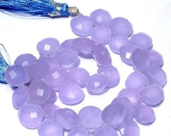 55% OFF SALE 1/2 Strand 4 Inches - Finest Quality AAA Lavender or Lilac Chalcedony Faceted Heart Briolettes Size 10mm approx