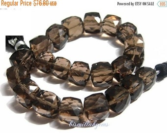 55% OFF SALE Full 7 Inches - Finest Quality AAA Smoky Quartz Faceted 3D Cubes Briolettes Size 7mm