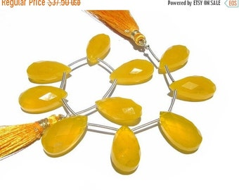 55% OFF SALE 1/2 Strand - Finest Quality Yellow Chalcedony Micro Faceted Pear Briolettes Size 20x10mm approx