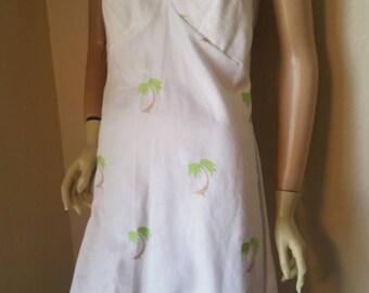 Halter dress Med Hermans USA vtg cotton embroidered