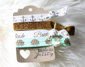Mint-To-Be Seashell and Anchor Beach Bride Gold Glitter Hair Tie Set