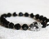 Black Swarovski Crystal Skull Glam Stretch Bracelet