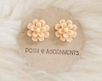 Large Cream Vintage Style Floral Stud Earrings