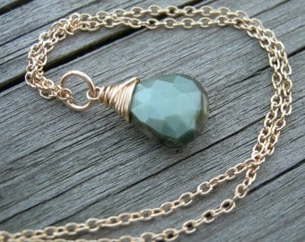 Faceted Chrysoberyl Cat's Eye Gold Fill Wire Wrapped Necklace