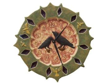 Ravens Ceramic Wall Clock in Moss Green, Sandstone & Black Cherry (13.5 inches in diameter)