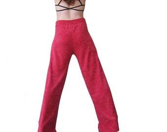 Red Terrycloth Cozy Lounge Pants - Long Legs, Men's, Women's, Dance, Yoga, Pajamas