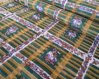 Vintage Cotton Fabric Yardage - Brown & Green with Lavender Roses Lattice Design - 1940's-50's