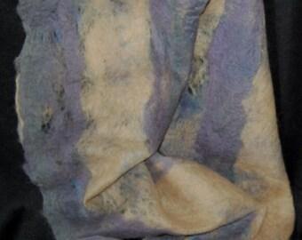 Purple and Beige Stripe Cobweb Felted Alpaca Scarf!