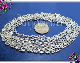 4 Silver Plated Finished Cable Chains - Textured Cable Necklaces 20 inch CSPT2