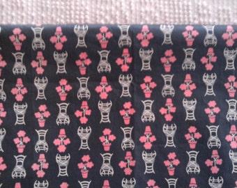 Vintage Cotton  Quilt Fabric  Pink & White on Dark Gray