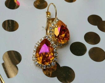 Stunning AustralianPink  Swarovski Crystal and Rhinestone Earring, Gold Setting