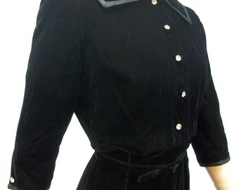Vintage 50s Dress & Jacket .  Black Velvet Wiggle Dress . Large Rhinestone Buttons . Short Jacket . XS S