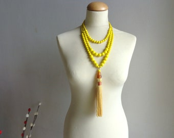 Yellow tassel Statement necklace longer style, multi strand necklace leather tassel