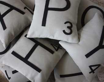 2 Scrabble Letter Pillows CASES ONLY // Scrabble Tile Pillows  // Letter Pillow Cushions // Family Room // Game Room // Den // Spelling