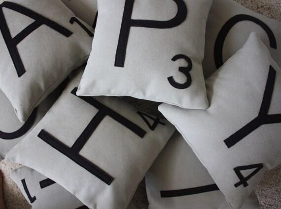2 Scrabble Letter Pillows CASES ONLY // Scrabble Tile Pillows  // Letter Pillow Cushions // Family Room // Game Room // Den // Spelling