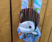 Gray Dolphin Striped Stuffed Animal Carrier Includes Toy Great Gift for Kids Snack Water Bottle Carrier Too