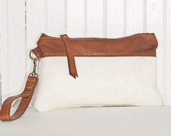 Hair On Cowhide Clutch Bag in Winter White and Saddle Tan Brown Leather