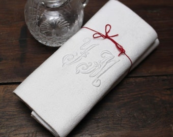 Pair of vintage french monogrammed napkins Y M