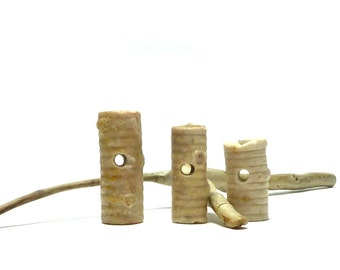 Thick Drilled Crinoid Toggles Fossil Stones Indian Jewelry Natural Rustic Primitive Toggle diy Earthy WHITE CRINOIDS