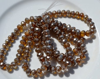 Brown with Silver Coating 8x6mm Czech GLass Rondelle Beads  25