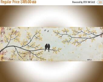 "Abstract painting Neutral art love birds original artwork canvas art canvas painting home decor wall art shabby chic ""Vintage Love"""