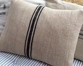 GrainSacK Black Stripe Pillow, Down Feather, Rustic, French CoTTagE, SHaBBy CHiC, Farmhouse, Urban, Loft, Industrial, Throw Pillow