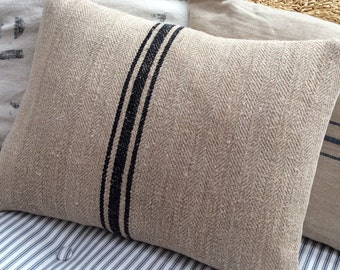 GrainSacK Black Stripe Pillow, Down Feather, Rustic, French CoTTagE, SHaBBy CHiC, Farmhouse, Urban, Loft, Industrial, Throw Pillow